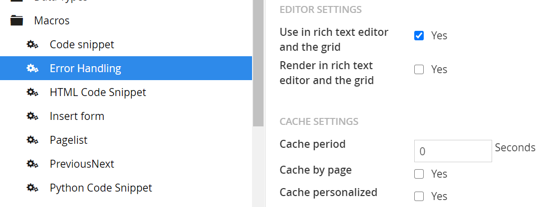 Umbraco Caching Settings for a Macro